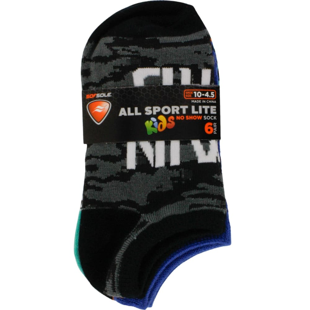 SOF SOLE Girls' All Sport Lite No Show Sock, 6 Pack - ASSORTED