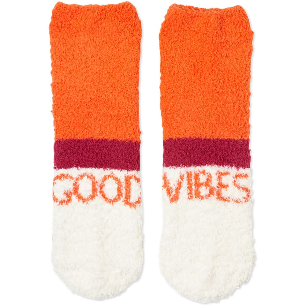 LIFE IS GOOD Women's Good Vibes Striped Snuggle Crew Socks - CORAL ORANGE
