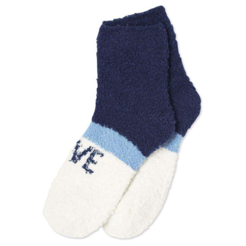LIFE IS GOOD Women's One Love Striped Snuggle Crew Socks - DARKEST  BLUE