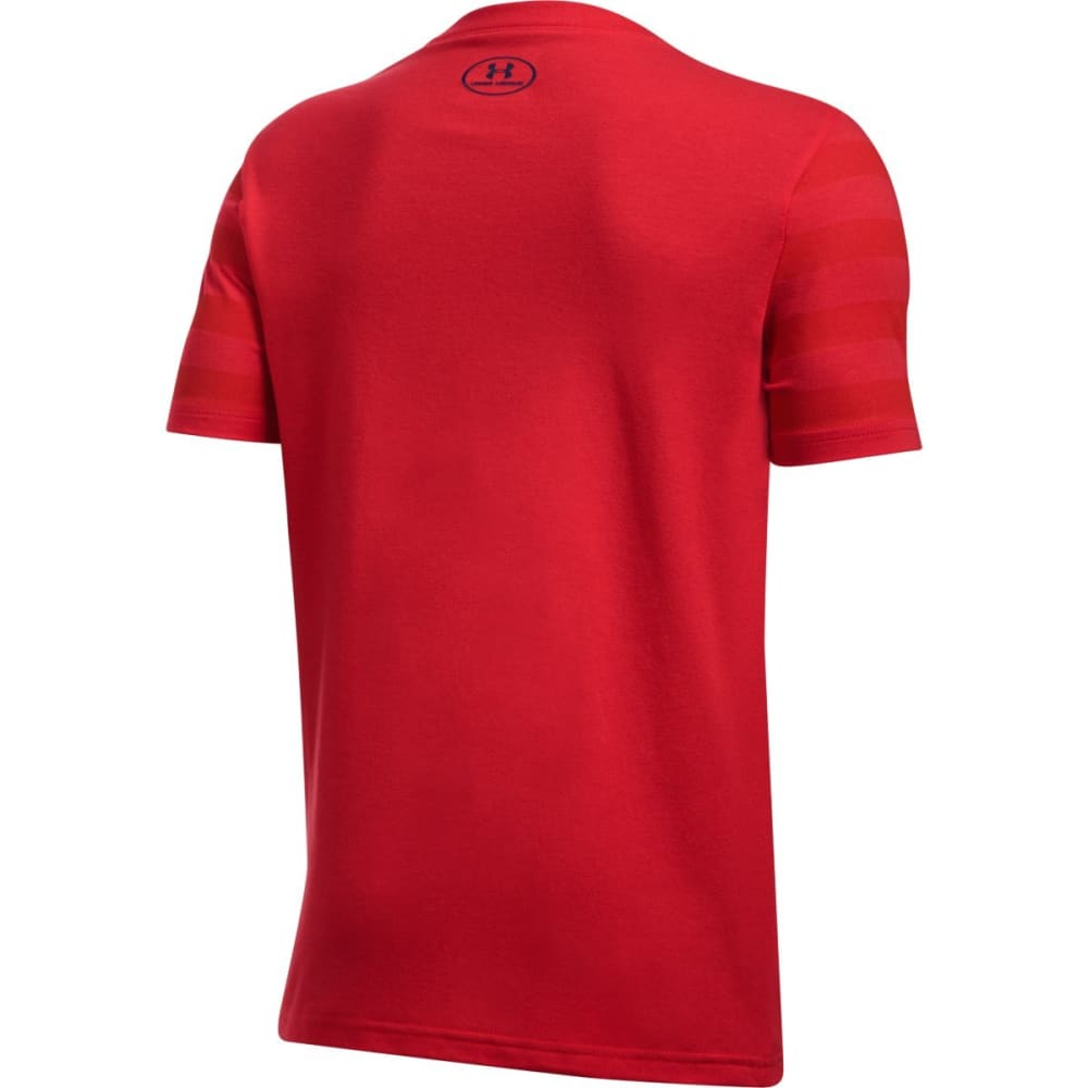 UNDER ARMOUR Boys' Big Logo Flag Short-Sleeve Tee - 600 RED/BOUTNVY/WHT