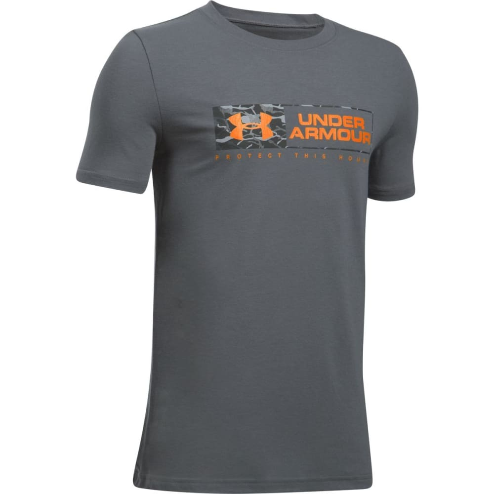 UNDER ARMOUR Boys' Knockout Bar Wordmark Short-Sleeve Tee - 040 GRAPHITE/RADIATE