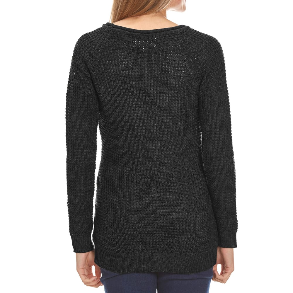 AMBIANCE Juniors' Waffle Knit Long-Sleeve Sweater - BLACK