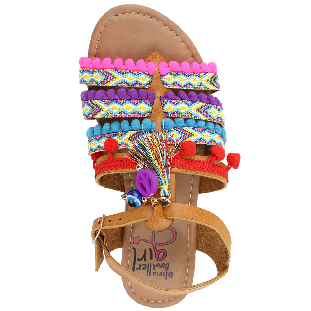 OLIVIA MILLER Girls' OMG Cognac Tribal Sandals - COGNAC