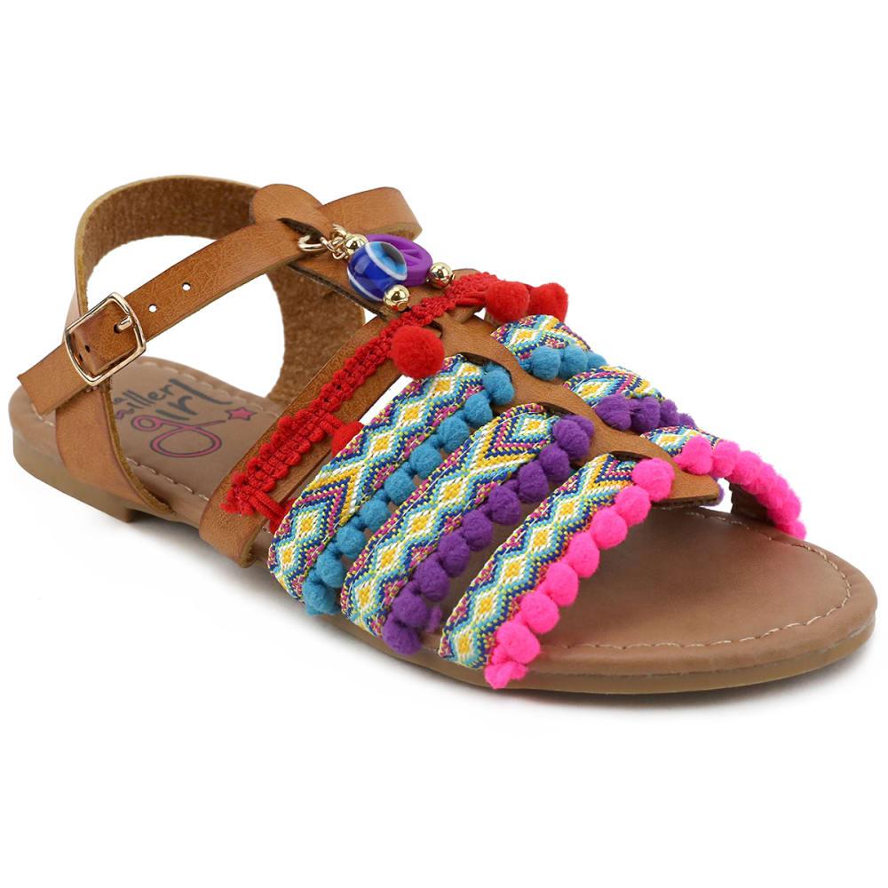 OLIVIA MILLER Girls' OMG Cognac Tribal Sandals - COGNAC