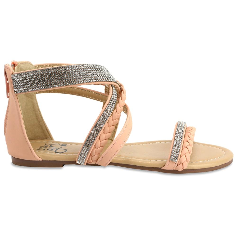 OLIVIA MILLER Girls' OMG Pink Strappy Rhinestone Gladiator Sandals - PINK