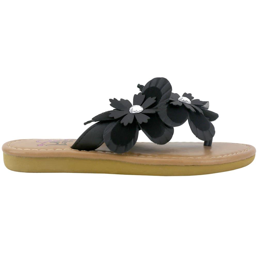 OLIVIA MILLER Girls' OMG Multi Flower Thong Sandal - BLACK
