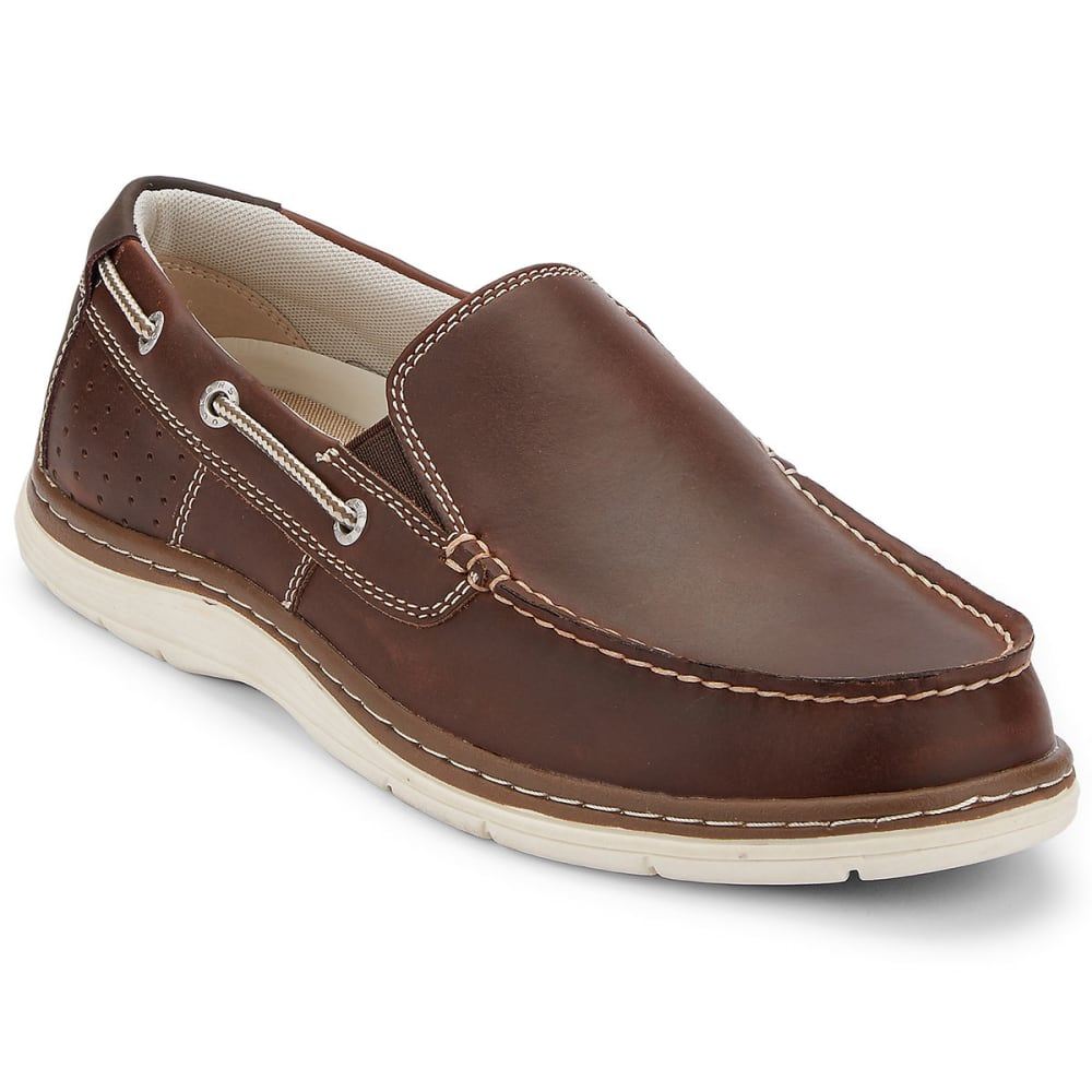 DOCKERS Men's Oakdale Slip-On Boat Shoes, Red/Brown - RED BROWN