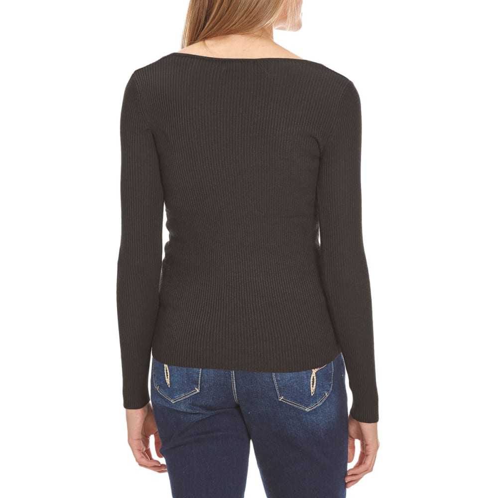AMBIANCE Juniors' Rib Knit V-Neck Long-Sleeve Sweater - BLACK
