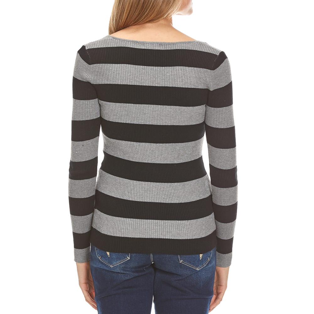 AMBIANCE Juniors' Striped Rib Knit V-Neck Long-Sleeve Sweater - HEATHER GREY/BLACK