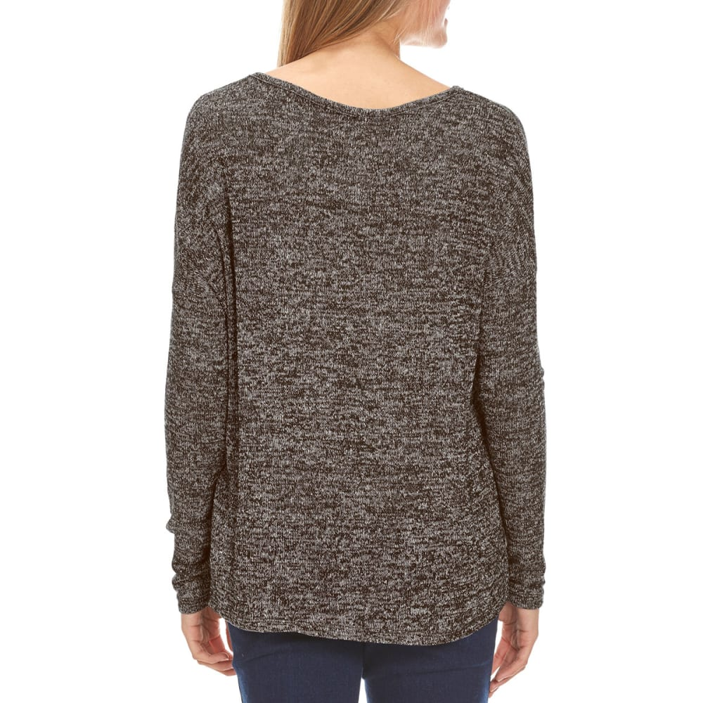 AMBIANCE Juniors' V-Neck Hacci Knit Long-Sleeve Sweater - BLACK
