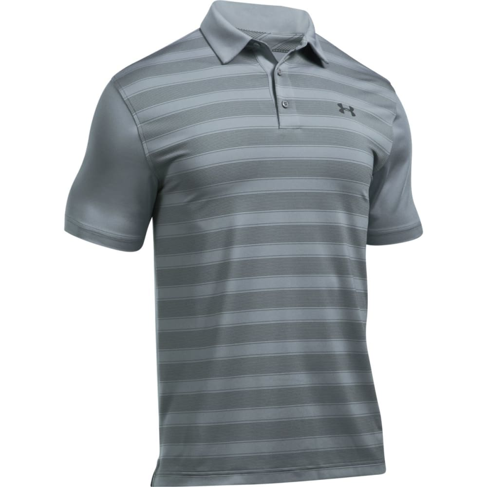 UNDER ARMOUR Men's Flagstick Stripe Polo Short-Sleeve Shirt - STEEL/GRAPHITE-035