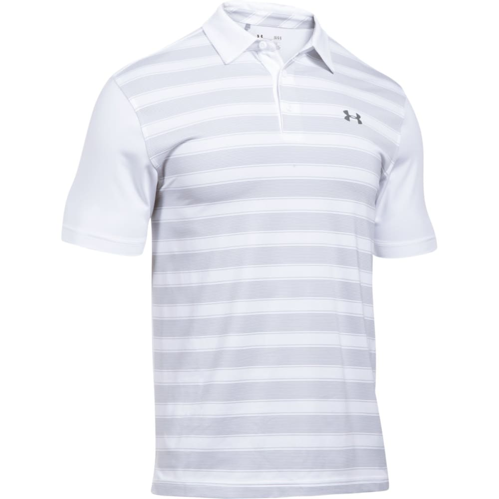 UNDER ARMOUR Men's Flagstick Stripe Polo Short-Sleeve Shirt - WHITE/OVERCAST-100