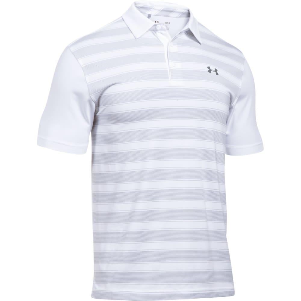 UNDER ARMOUR Men's Flagstick Stripe Polo Short-Sleeve Shirt - WHITE/OVERCAST-100