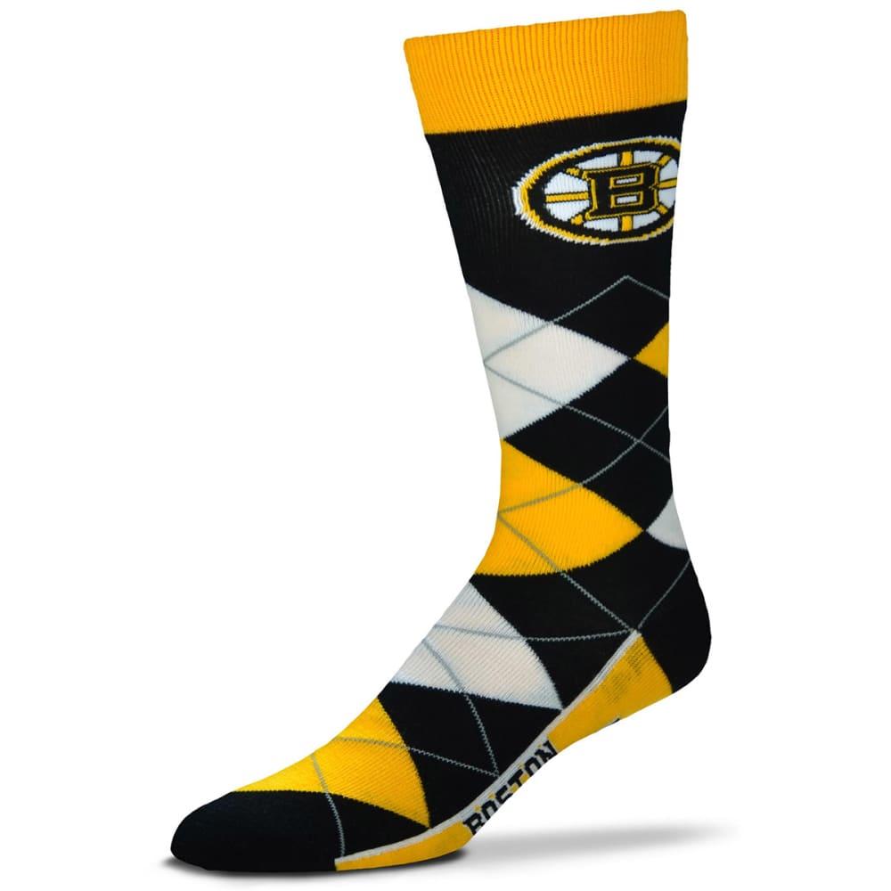BOSTON BRUINS Argyle Lineup Crew Socks - BLACK