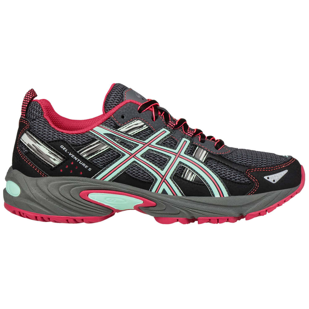 Asics Women's Gel-Venture 5 Trail Running Shoes, Carbon, Wide - Black, 8