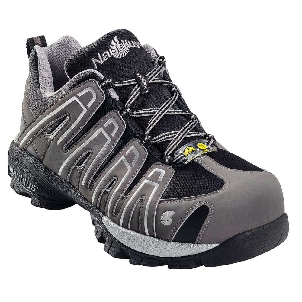 NAUTILUS Men's No Exposed Metal Soft Toe Athletic Work Shoes, Wide - GREY