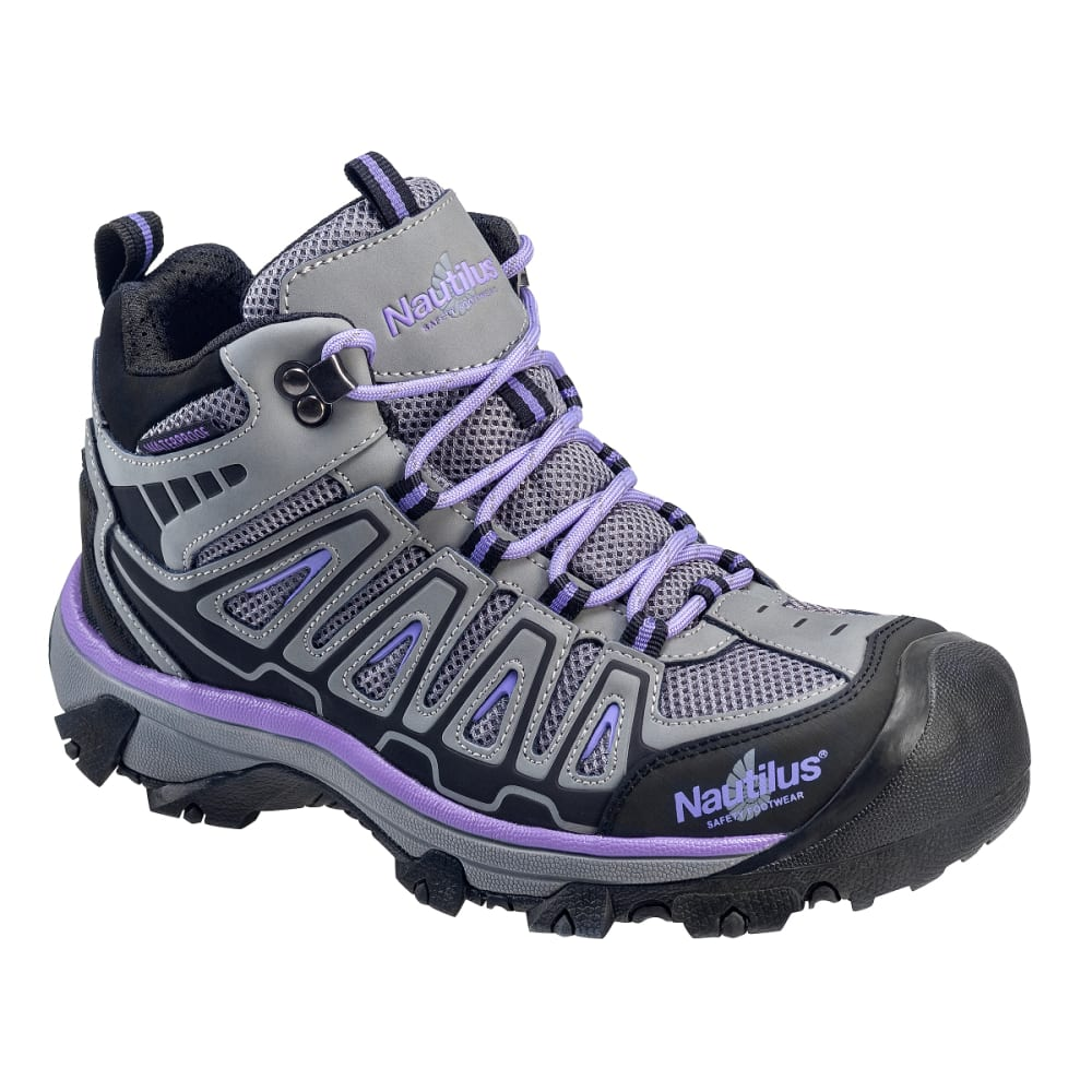 NAUTILUS Women's Light Weight Mid Waterproof Safety Toe Hiker, Wide - GREY