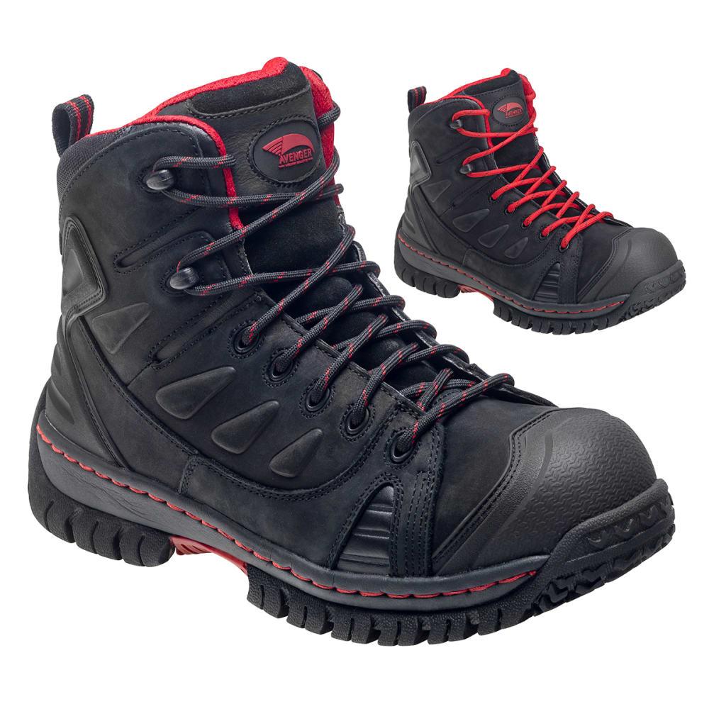 AVENGER Waterproof Leather Safety Toe EH Hiker, Wide - BLACK
