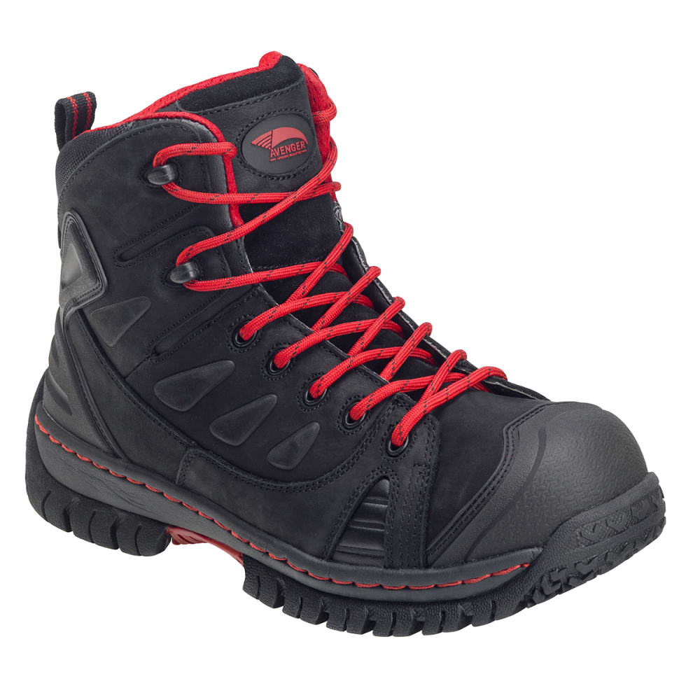 AVENGER Waterproof Leather Safety Toe EH Hiker, Wide - BLACK