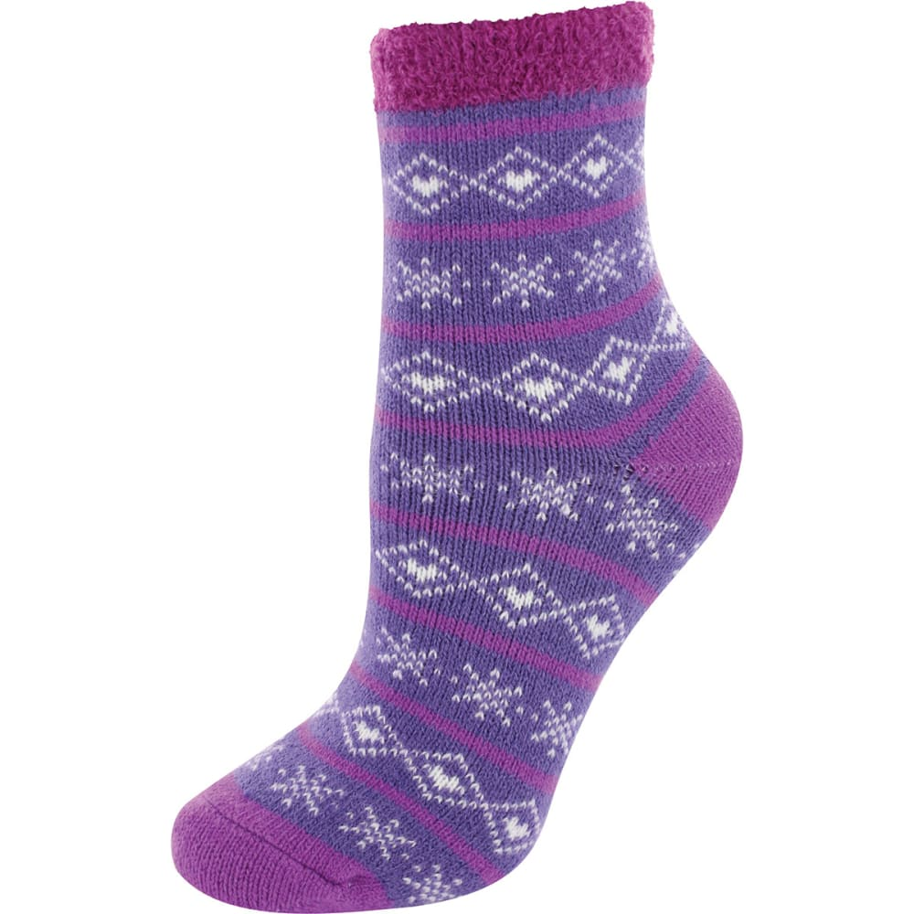 SOF SOLE Women's Fireside Indoor Snowflake Socks - PURPLE/CREAM
