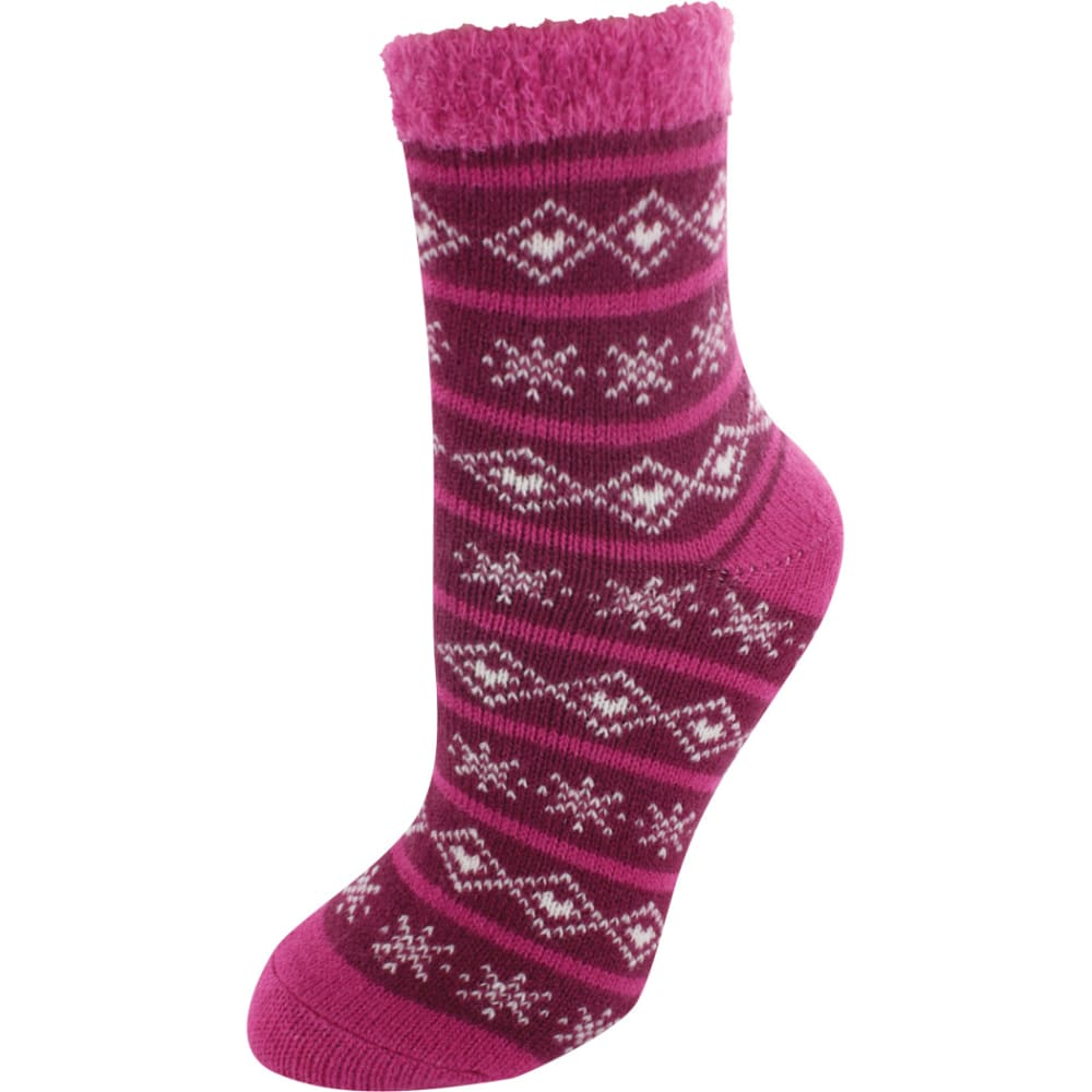 SOF SOLE Women's Fireside Indoor Snowflake Socks - PINK/CREAM