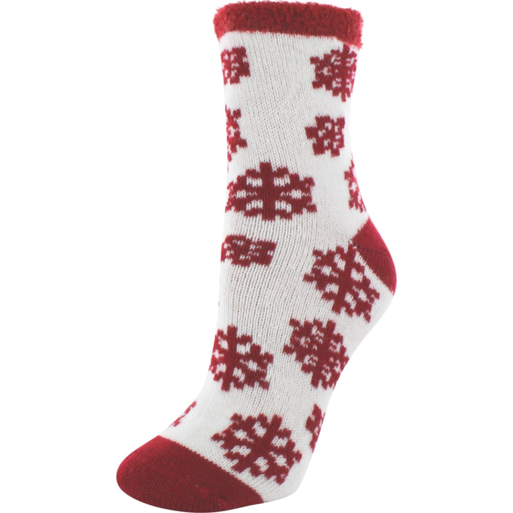 SOF SOLE Women's Fireside Indoor Snowflake Socks - CREAM/RED