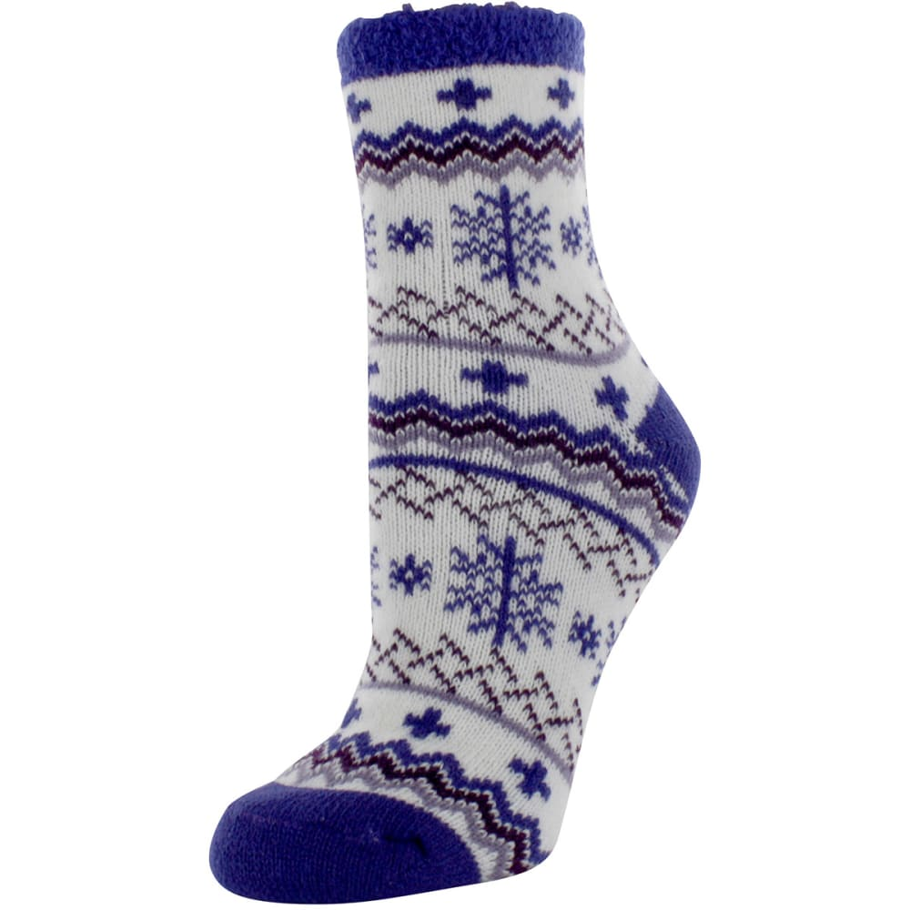 SOF SOLE Women's Fireside Indoor Nordic Snowflake Socks - CREAM/PURPLE