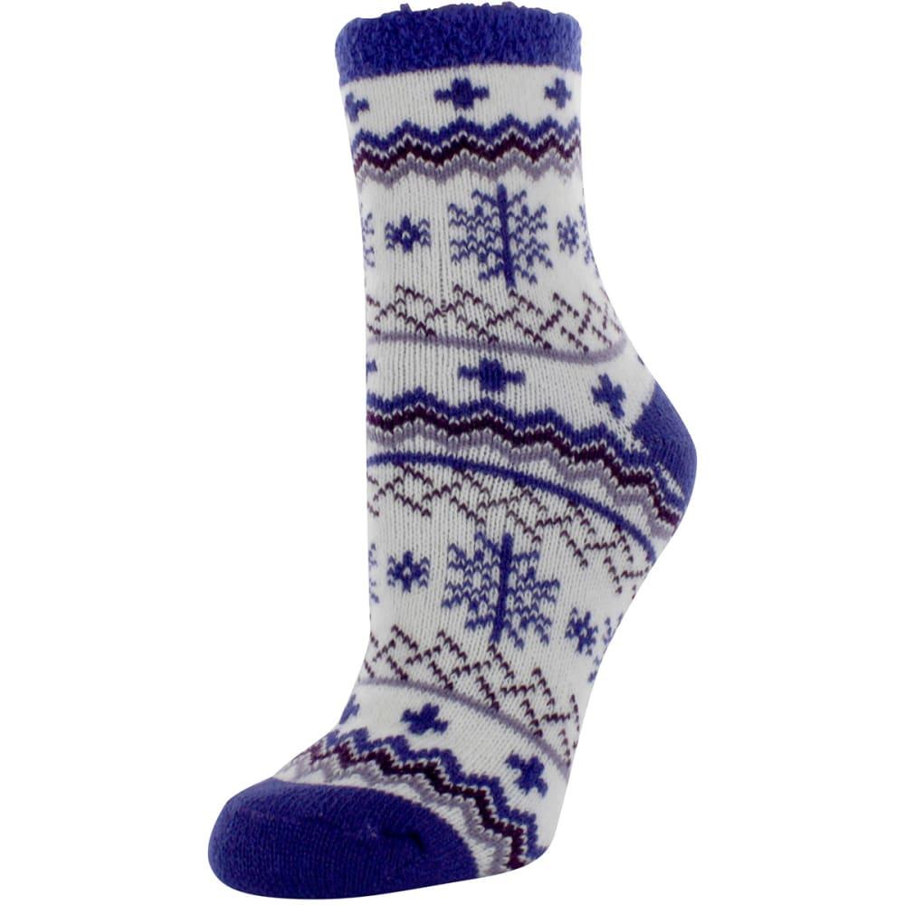 SOF SOLE Women's Fireside Indoor Nordic Snowflake Socks - CREAM/PURPLE