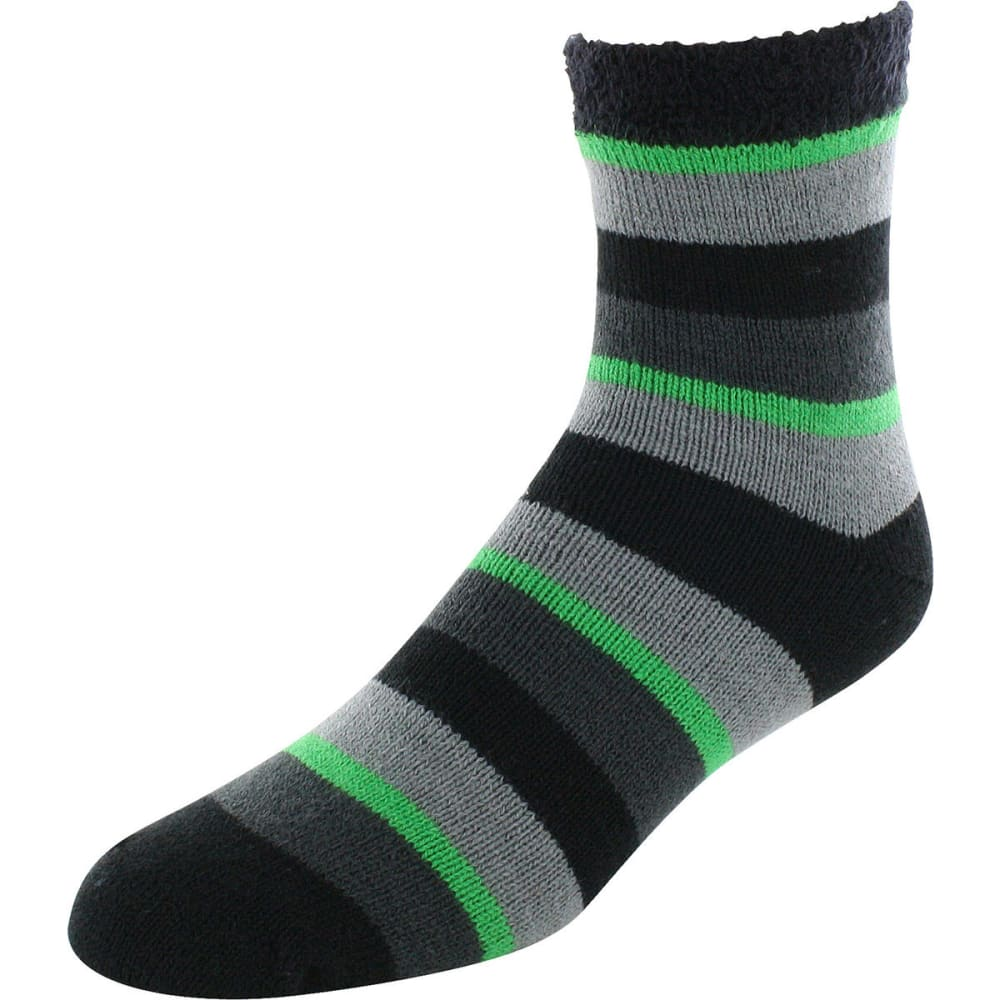 SOF SOLE Men's Fireside Striped Quarter-Height Socks - BLK/GREY-88319