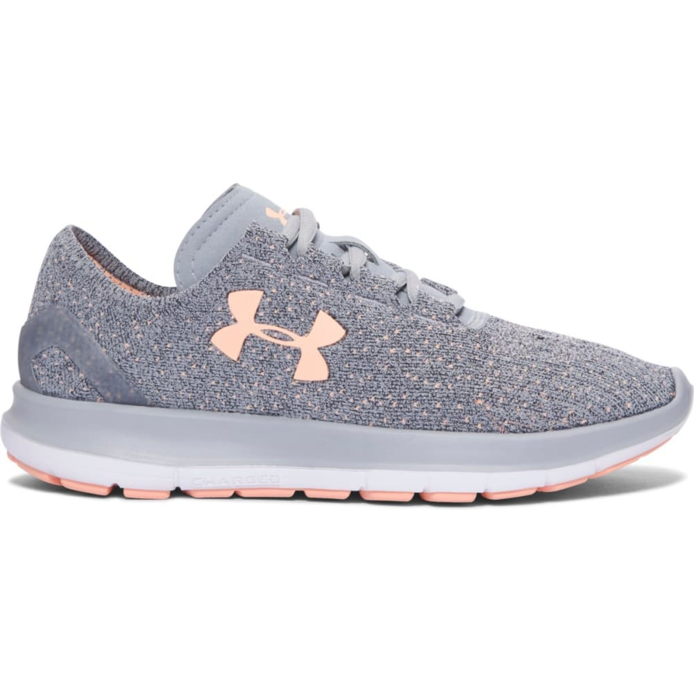 UNDER ARMOUR Women's SpeedForm Slingride TRI Running Shoes, Overcast Grey - GREY/ORANGE