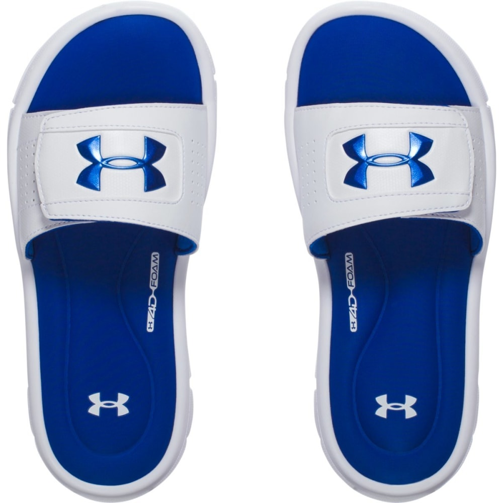 UNDER ARMOUR Boys' UA Ignite V Slides, White/Ultra Blue - WHITE