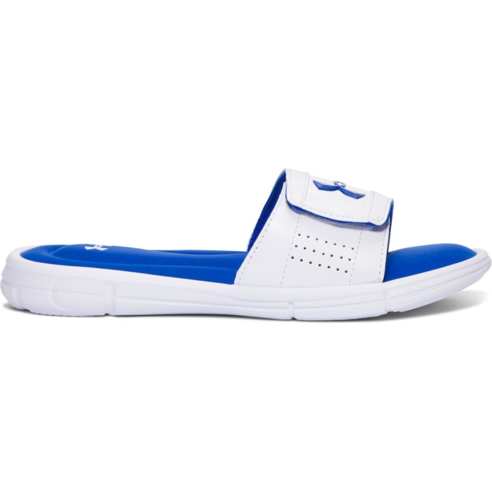 UNDER ARMOUR Boys' UA Ignite V Slides, White/Ultra Blue - WHITE