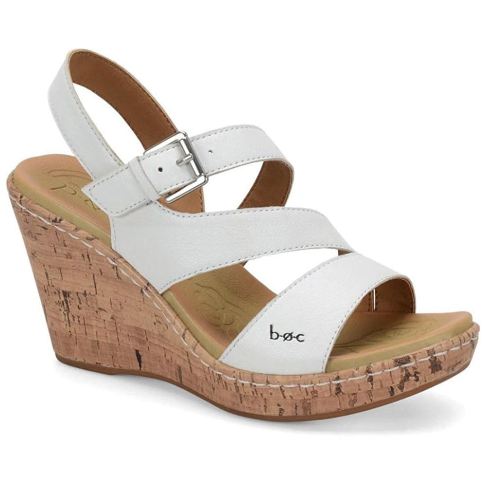 BOC Women's Schirra Cork Wedge Sandals, White - WHITE