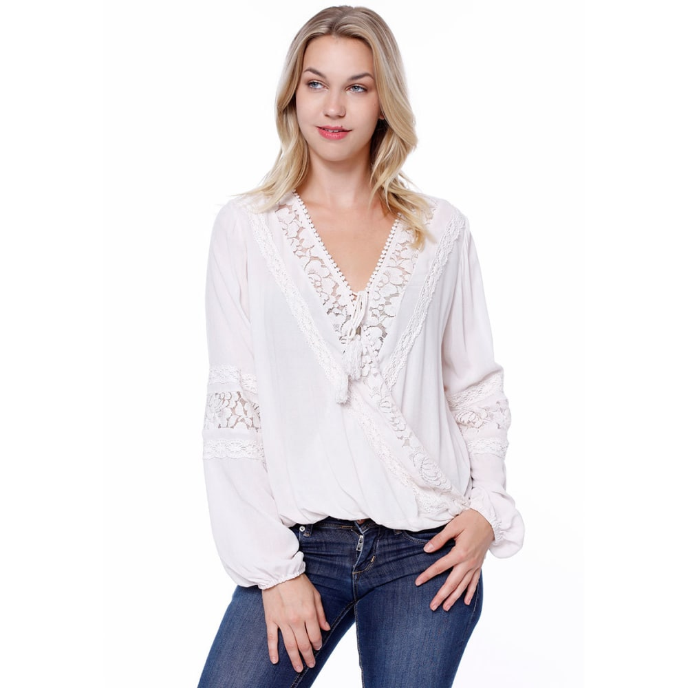 TAYLOR & SAGE Juniors' Lace Inset Balloon Waist Woven Long-Sleeve Top - WHITE SAGE
