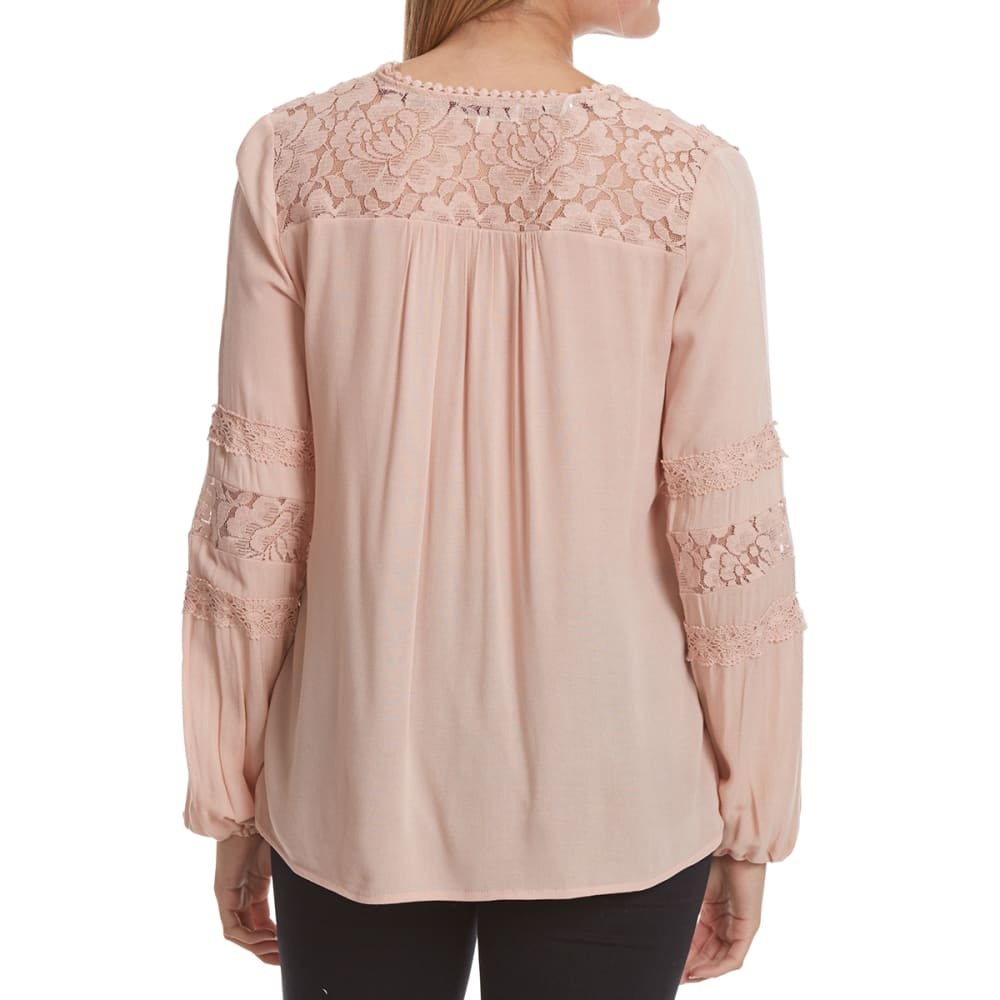 TAYLOR & SAGE Juniors' Lace Inset Balloon Waist Woven Long-Sleeve Top - ROMANTIC PINK