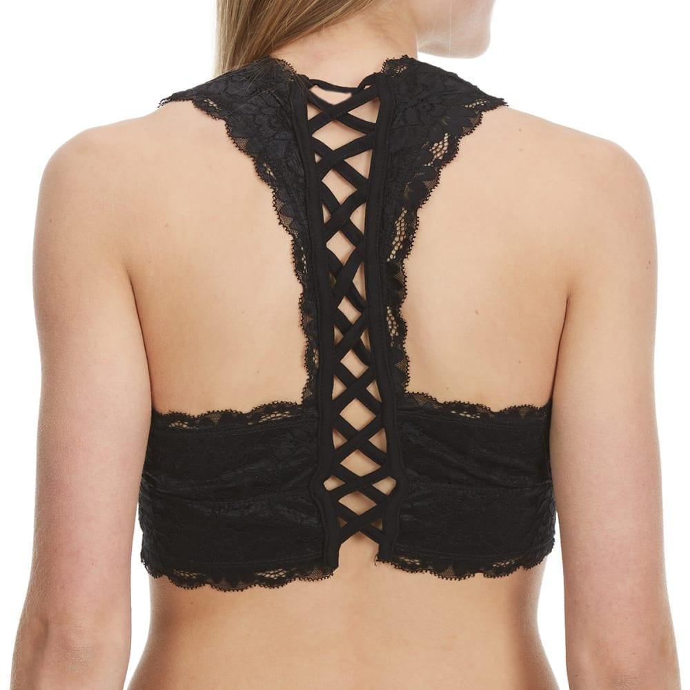 POOF Juniors' Crisscross Back Lace Bralette - BLACK