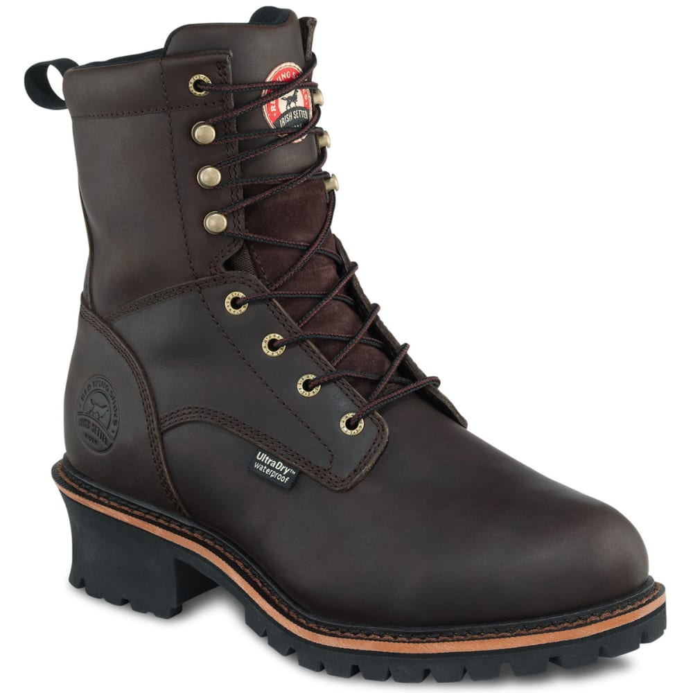 RED WING Men's Irish Setter 8-Inch Waterproof Insulated Logger Boots - DARK BROWN