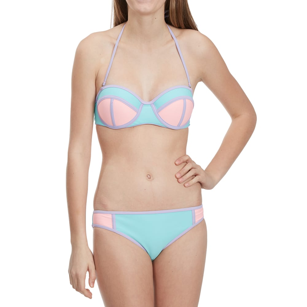 HEAT Juniors' Pastel Color-Block Bandeau Bikini Top - MINT/PNK/PURPLE