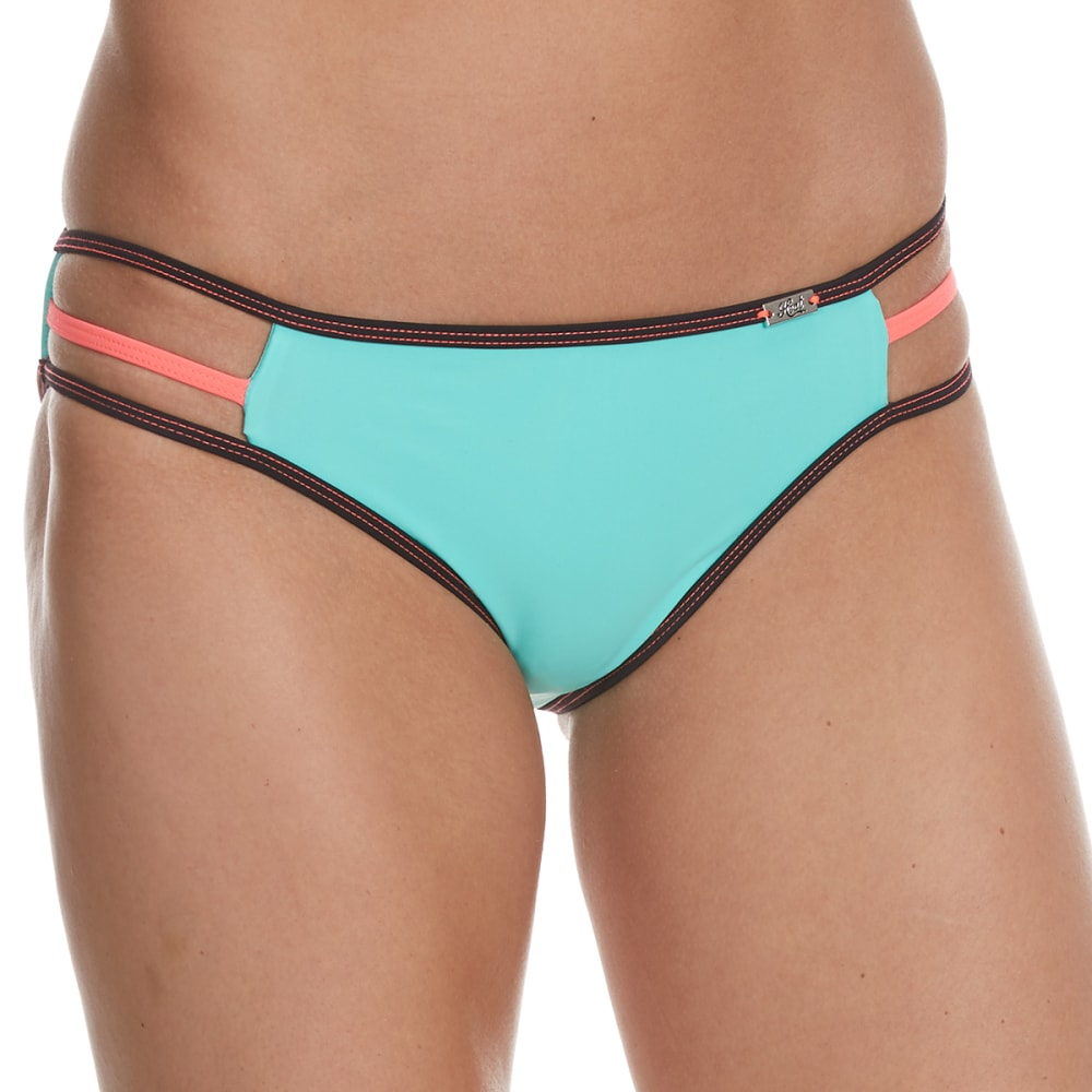 HEAT Juniors' Surfs Up Color Block Strappy Bikini Bottom - CORAL/BLK/MINT