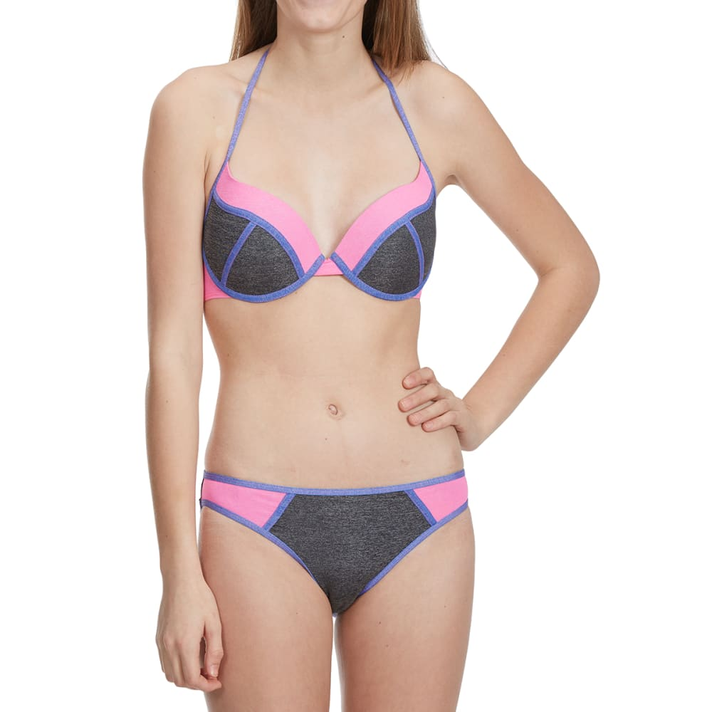 HEAT Juniors' Heather Metallic Color-Blocked Bandeau Bikini Top - HGRY/PINK/PURP