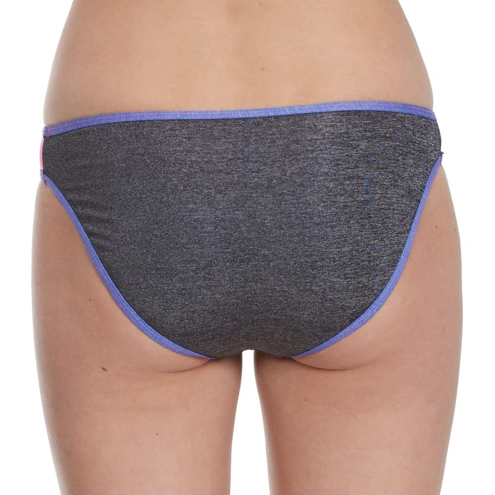 HEAT Juniors'  Heather Metallic Color-Blocked Bikini Bottoms - HGRY/PNK/PURPLE