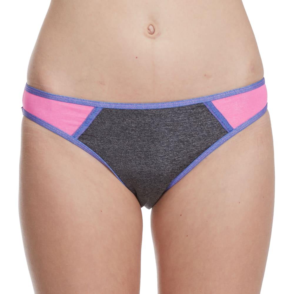 HEAT Juniors'  Heather Metallic Color-Blocked Bikini Bottoms L