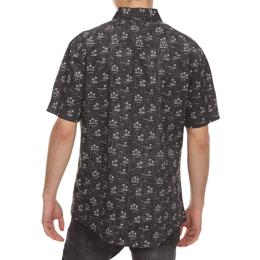 OCEAN CURRENT Guys' Legit Palm Woven Short-Sleeve Shirt - BLACK