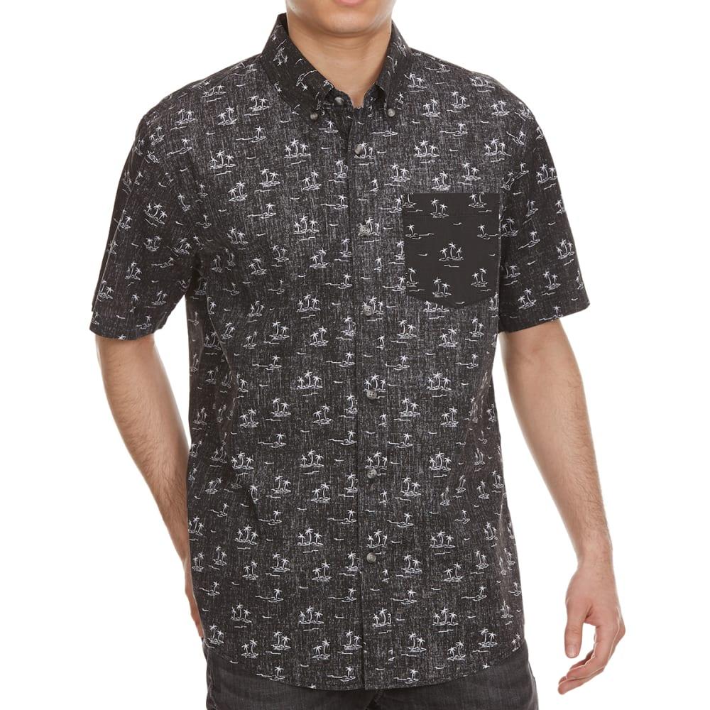OCEAN CURRENT Guys' Legit Palm Woven Short-Sleeve Shirt - BLACK