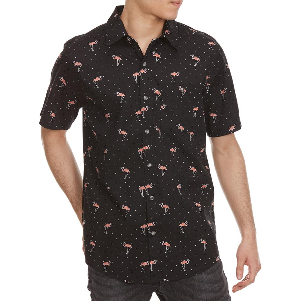 OCEAN CURRENT Guys' Flat Dot Flamingo Woven Short-Sleeve Shirt - BLACK