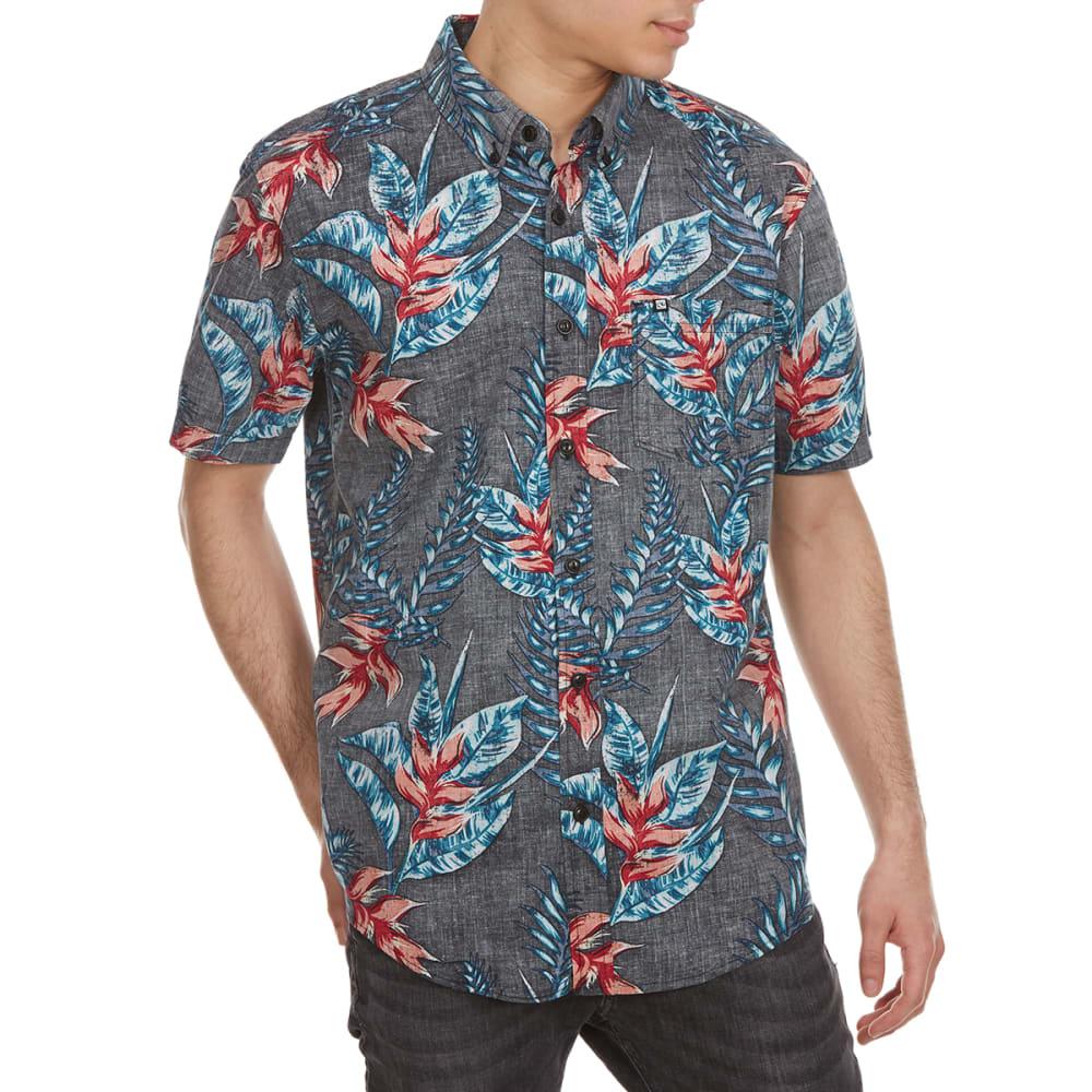 OCEAN CURRENT Guys' Fantasy Island Floral Woven Short-Sleeve Shirt - BLACK