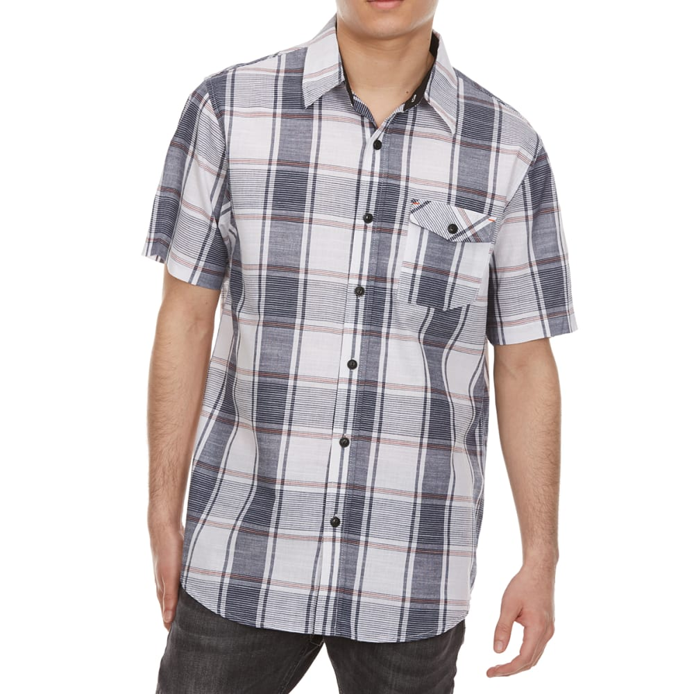 OCEAN CURRENT Guys' Akajima Plaid Woven Short-Sleeve Shirt - WHITE