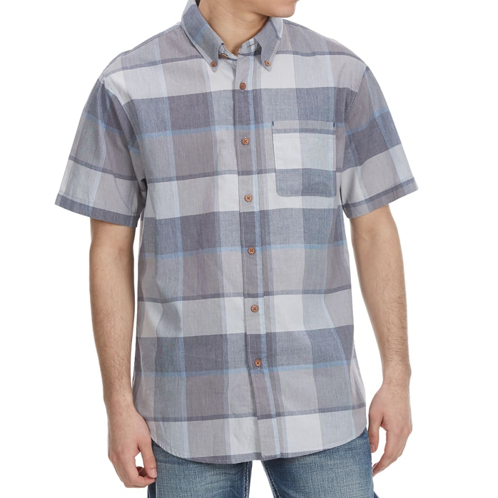 OCEAN CURRENT Guys' Funman Plaid Woven Short-Sleeve Shirt - GUN