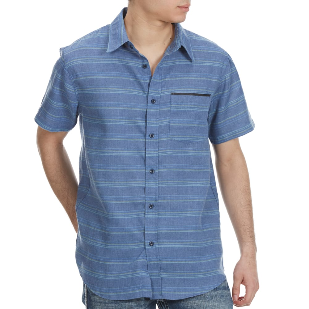 OCEAN CURRENT Guys' Propulsion Horizontal Stripe Woven Short-Sleeve Shirt - BLUE