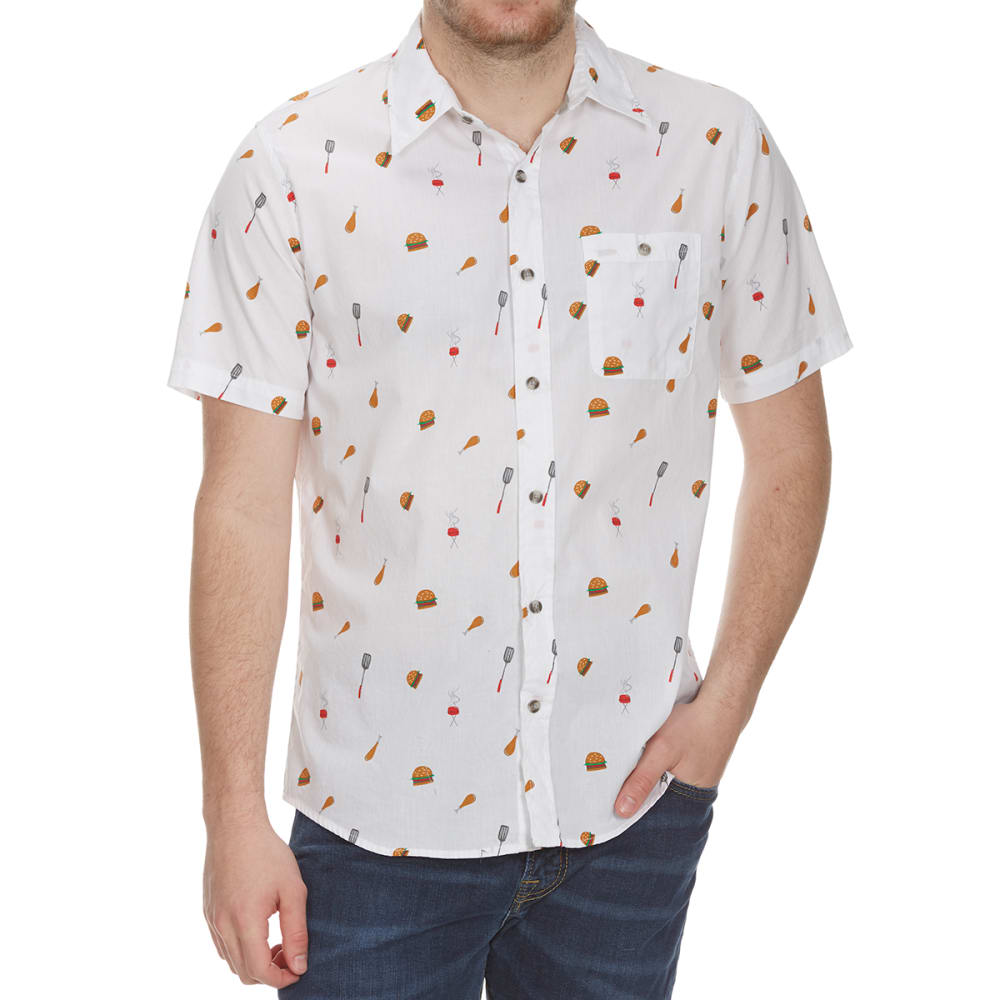 OCEAN CURRENT Guys' BBQ Woven Short-Sleeve Shirt - WHITE